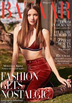 Cover girl: Miranda Kerr flaunts her incredible figure on the newest cover of Harper's Bazaar Australia