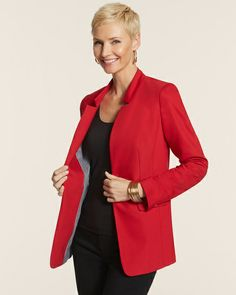 City Chic Open Front Longer Blazer - Chico's #ValentinesDay #redhaute #love