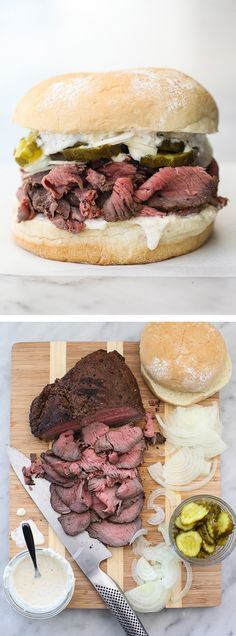 The spice rub makes this sirloin roast incredibly tender for this thin sliced beef sandwich. A winner on game days!