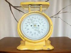 Vintage Yellow Kitchen Scale by Iknowretro on Etsy