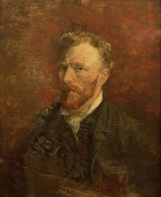 """Vincent van Gogh """"Self-Portrait with pipe and glass"""" (Paris. Early 1887) oil on canvas; 61 x 50 cm  Van Gogh Museum, Amsterdam"""