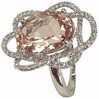 #Jewelry #Rings Gorgeous Floral Diamond and Pink Morganite Jewelry Ring in,14K White Gold Ring