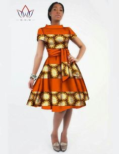 Gender: Women Waistline: Natural Decoration: Sashes Sleeve Style: Regular Pattern Type: Print Style: Casual Brand Name: BintaRealWax Material: Cotton Season: Summer Dresses Length: Knee-Length Necklin African Dresses For Women, African Print Dresses, African Attire, African Wear, African Fashion Dresses, African Women, African Prints, African Style, African Inspired Fashion