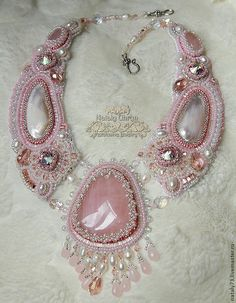 """Купить колье """"Золушка"""" - бледно-розовый, нежно-розовый, нежное украшение, колье с розовым кварцем"""