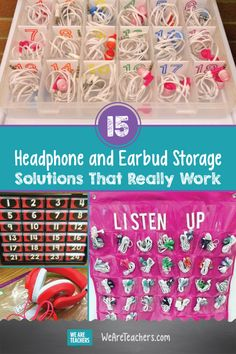 15 Headphone and Earbud Storage Solutions That Really Work. Earbuds have made their way into almost every classroom, and it only leaves students one more thing to keep up with. So check out these DIY classroom storage ideas, and try implementing one into your classroom! #teaching #teacher #classroom