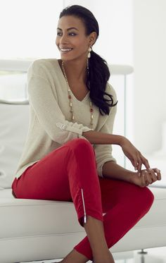 We love these red zippered crop pants