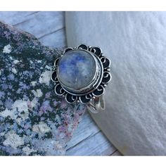 Rainbow Moonstone Silver Ring Moonstone cabochon stone circle  in shape bezel set in hallmarked .925 Silver. Vintage style scroll details, this ring is handmade one of a kind piece.  Brand new with my custom made tags.  Ring size } 8 Jewelry Rings