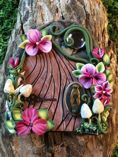 Polymer Clay Fairy Door Pink with Mushrooms by missfinearts.deviantart.com on @DeviantArt