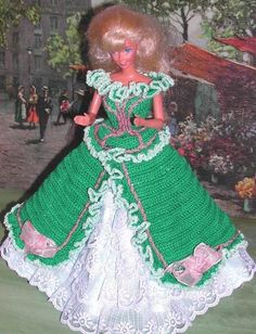 CROCHET FASHION DOLL PATTERN-#603 GARDEN PARTY IN GREEN #ICSORIGINALDESIGNS