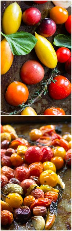 Slow Roasted Tomatoes with Smashed Garlic & Herbs