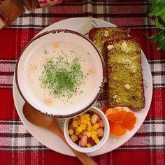 はるな's dish photo 朝ごはんプレート | http://snapdish.co #SnapDish #朝ご飯 #野菜スープ