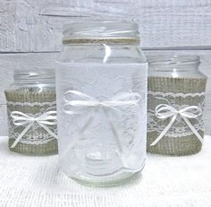 Burlap and Lace Jars for wedding head table or by GorgeousIdeas, $19.99
