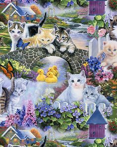 Animal Reign - Cat's Purfect Day - Multi - DIGITAL PRINT- Quilt Fabrics from www.eQuilter.com