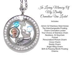 Daddy Cremation Urn - Cremation Jewelry - Memorial Necklace - Loss Of Parent - Dad Guardian Angel - Remembrance - In Loving Memory Of