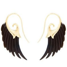 Freshly released eighteen carat yellow gold earrings with ebony wing adornment from Noor Fares.