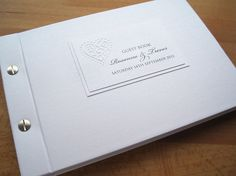 Liberty Guest Book in pearlescent white.