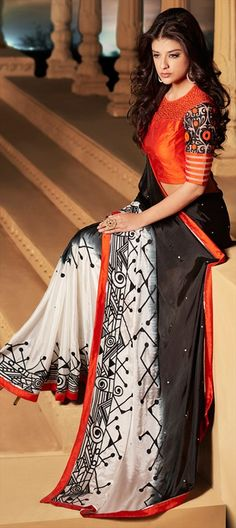 166808 Black and Grey, White and Off White color family Embroidered Sarees in Silk fabric with Lace, Machine Embroidery work with matching unstitched blouse. Indian Dresses, Indian Outfits, Indian Clothes, Stylish Sarees, Elegant Saree, Party Wear Sarees, Fancy Sarees, Pure Silk Sarees, Saree Blouse Designs