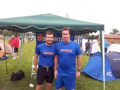Sergio y Diego delante del campamento que montamos para las 24 H. Running Race de La Fresneda