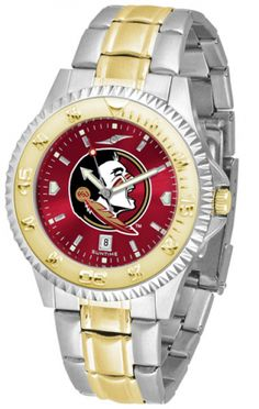 Florida State Seminoles Men Or Ladies Competitor Two-Tone Watch With Anochrome Dial. The ultimate fan's statement, our Competitor Two-Tone timepiece offers a classic, business-appropriate look. Features: 23kt gold-plated bezel stainless steel case date function. Secures to your wrist with a two-tone solid stainless steel band band complete with safety clasp. AnoChrome Dial 3 Year Warranty The AnoChrome dial option increases the visual impact of any watch with a stunning radial reflection…