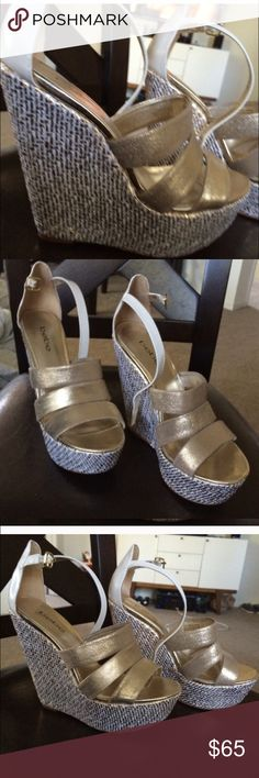 Bebe sky high strappy gold and white size 8 wedge Bebe size 8 sky high wedge with woven design and white vegan leather detailing, in perfect condition worn only once. Only sign of wear is on the bottom of the sole. bebe Shoes Wedges