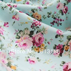 Free shipping,Hot Sale,13# Light blue roses flowers 100% cotton fabric,$18/2yards,MOQ: 2yards,Width 1.4 meters,Support wholesale-in Fabric f...