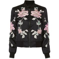 3x1 Women's Floral Bomber (42.525 RUB) ❤ liked on Polyvore featuring outerwear, jackets, black, cotton lined jacket, flower print bomber jacket, floral bomber jacket, fleece-lined jackets and floral print bomber jacket