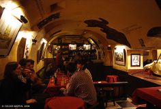 Las Cuevas de Sesamo, Madrid, Spain - funky little sangria bar with a piano player right out of the Fifties. Didn't actually eat here - just sangria.  But it's all about the atmosphere.