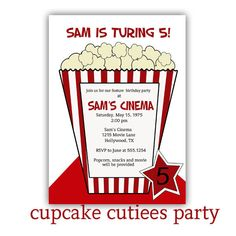 Movie Star Pop Corn Birthday Digital Custom Invitation Card PRINTABLE. $10.00, via Etsy.  These were great inviations for my 8yo's movie party bday! The seller was great to work with too! I have purchased from her at least twice since!