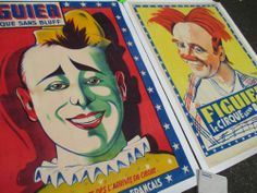 2 1920s french circus clown poster s stone litho antique vtg museum painting art