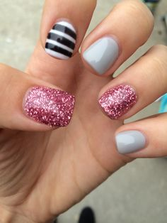 Gray. Glitter pink. White with black stripes. Fall nails. Short acrylic.