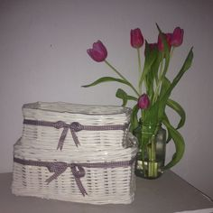 Baskets woven from paper rolls