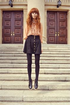 black button up skirt + peach daisy top + black tights = adorable outfit