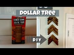 Hey yall it's DeeLo back with yet another DIY! I managed to make this cool arrow/chevron wall decor from the wooden tower game at Dollar Tree. Chevron Wall Decor, Wooden Wall Decor, Tree Wall Decor, Wooden Walls, Diy Wall Decor, Decor Crafts, Dollar Tree Decor, Dollar Tree Crafts, Dollar Tree Store