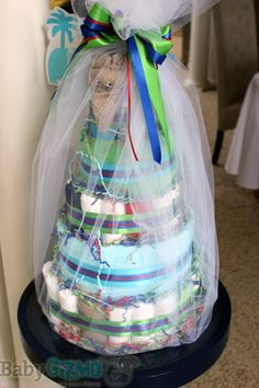 Baby Shower Diaper Cake   All mommies must visit www. upscale-mom.com for multi tasking magic!