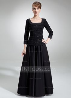 A-Line/Princess Square Neckline Floor-Length Ruffle Beading Sequins Zipper Up Sleeves 3/4 Sleeves No Black Fall Winter General Plus Chiffon Satin Mother of the Bride Dress