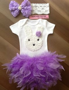 Easter Bunny Outfit Feather Bloomer, Bodysuit & Headband Spring, Easter,1st Easter, Easter Cake Smash, Newborn, New Baby, Bunny Photo Prop