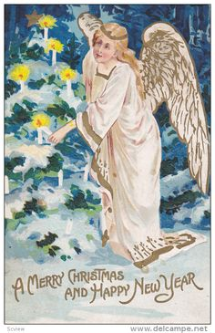CHRISTMAS; Happy New Year, Angel lighting candles on tree, PU-1909