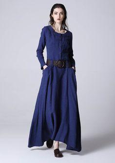 Azul vestido vestido maxi vestido de lino vestido por xiaolizi