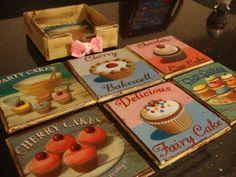 Posavasos con decoupage y pintura Glass Ceramic, Wood Glass, Arte Country, Decoupage Ideas, Glass Coasters, Ceramic Painting, Vintage Wood, Diy And Crafts, Stencils