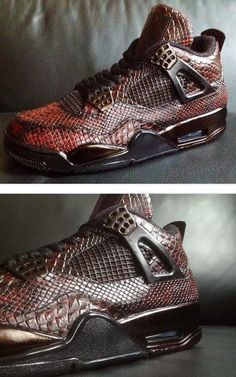 """Here is a detailed look at a pair of custom Air Jordan IV 4 """"Eiffel Tower"""" Snake Skin Sneakers designed by Revisited, these are amazing! P..."""
