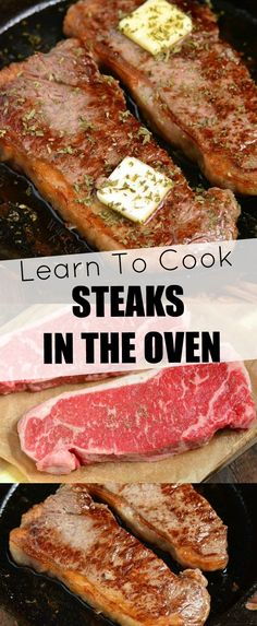 How To Cook Steaks In The Oven. Making steak in the oven is quick and easy, no grill needed. Just choose your favorite steak, season it simply with salt and pepper, sear in a skillet, and move into the oven to finish. Beef Recipes For Dinner, Grilling Recipes, Vegetarian Recipes, Cooking Recipes, Recipes For Steak, Game Recipes, Recipies, Steak Au Four, How To Cook Steak