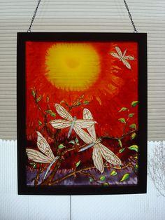 Vitraux fait de peinture a vitraux de Pébéo sur vitre encadrée acheter chez Omer Dessere