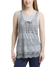 Loving this Simply Irresistible Dove Gray Lace Layered Tank on #zulily! #zulilyfinds