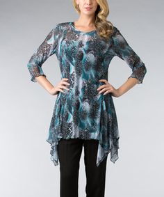 Look at this #zulilyfind! Teal & Black Abstract Leopard Sidetail Tunic by Dalin #zulilyfinds
