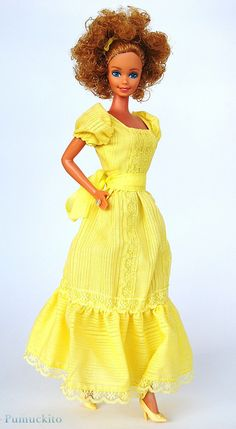 Magic Curl Barbie, 1981. One of my earliest memories is of this doll. Her hair is still curly and I still have the dress!