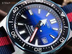 Seiko Prospex PADI Special Edition #SPB071J1 Divers 200m Re-interpretation version of 62MAS on MiLTAT Red & Blue Stripes Nato