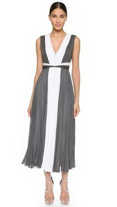 J. Mendel Pleated Two Tone Dress