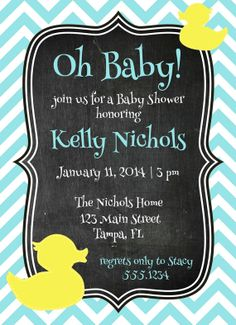 Baby Shower Invitation Rubber Ducky by CarouselPrintables on Etsy