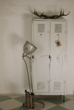 old lockers, vintage lights & antlers