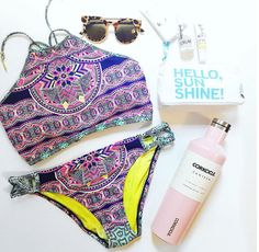 Cute high neck swimsuit and pool accessories